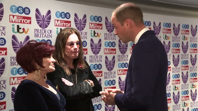 Interior shts of Prince William greeting celebrities at the Pride of Britain Awards including Joan Collins Rod Stewart Liam Payne Ozzie Osbourne and...