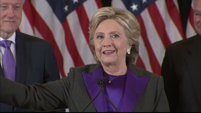 interior soundbite hillary clinton, former presidential candidate on stage after conceding the 2016 us election to donald trump and thanks supporters... - rede stock-videos und b-roll-filmmaterial