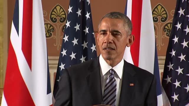 Interior soundbite President Barack Obama in press conference with David Cameron British Prime Minister talks about the outcome of EU Referendum is...