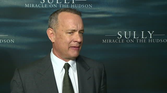 Interior soundbite Tom Hanks actor on the red carpet of 'Sully Miracle On The Hudson' talking about playing the character of pilot Chesley...