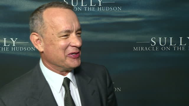 Interior soundbite Tom Hanks actor on the red carpet of 'Sully Miracle On The Hudson' talking about Donald Trump winning the US Presidential Election...