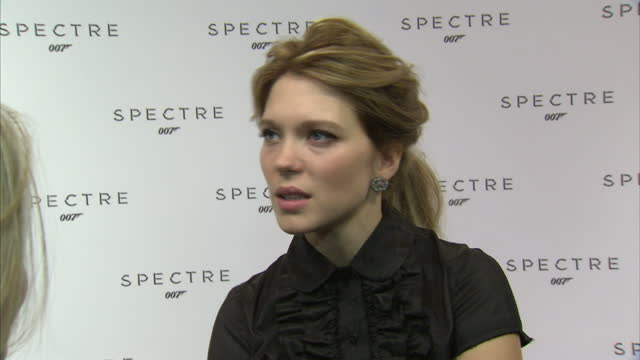 Interior soundbite with actress Lea Seydoux speaking about the evolution of the 'Bond Girl' character saying that she admired Eva Green's performance...