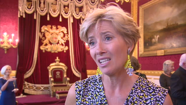 interior soundbite with emma thompson joking about what she thought of prince charles's performance of hamlet's to be or not to be as part of a... - emma thompson stock videos & royalty-free footage