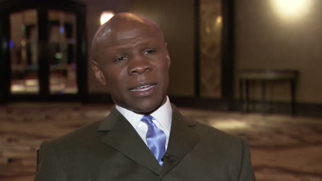 interior soundbite with former boxer chris eubank speaking about the advice he gave to his son during the match with nick blackwell in which he told... - chris eubank sr stock videos & royalty-free footage