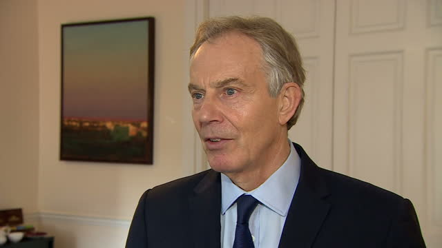 interior soundbite with former prime minister tony blair speaking about the legacy left by martin mcguinness saying i was extraordinarily impressed... - martin mcguinness stock videos and b-roll footage