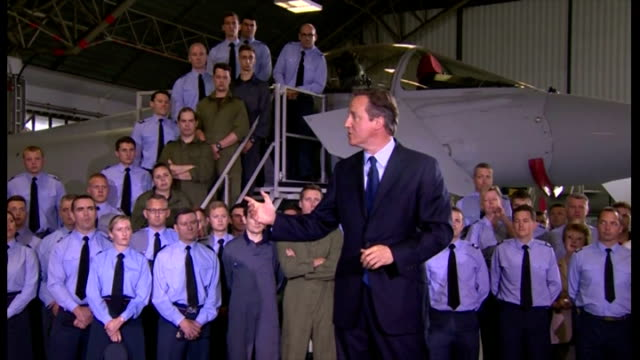 interior speech by british prime minister david cameron at raf coningsby on increasing his military spending by 2% on gdp part six on july 13 2015 in... - イギリス国防省点の映像素材/bロール