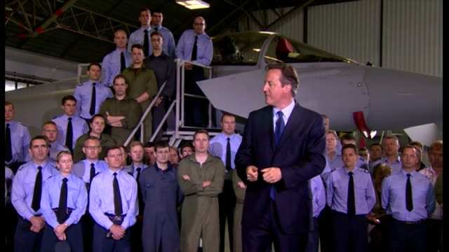 interior speech by british prime minister david cameron at raf coningsby on increasing his military spending by 2% on gdp part five on july 13 2015... - イギリス国防省点の映像素材/bロール