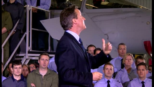 interior speech by british prime minister david cameron at raf coningsby on increasing his military spending by 2% on gdp part four on july 13 2015... - イギリス国防省点の映像素材/bロール