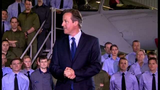 interior speech by british prime minister david cameron at raf coningsby on increasing his military spending by 2% on gdp part three on july 13 2015... - イギリス国防省点の映像素材/bロール