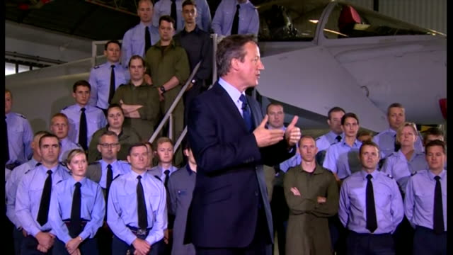 interior speech by british prime minister david cameron at raf coningsby on increasing his military spending by 2% on gdp part two on july 13 2015 in... - イギリス国防省点の映像素材/bロール