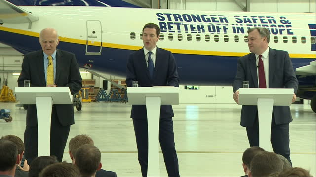 interior speech by george osborne mp inside a ryanair hanger at stansted airport on the eu referendum part one on may 16 2016 in london england - george osborne stock videos & royalty-free footage