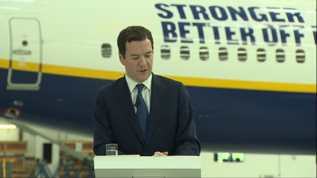 interior speech by george osborne mp inside a ryanair hanger at stansted airport on the eu referendum part four on may 16 2016 in london england - george osborne stock videos & royalty-free footage