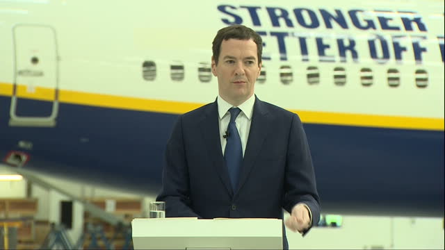interior speech by george osborne mp inside a ryanair hanger at stansted airport on the eu referendum part three on may 16 2016 in london england - george osborne stock videos & royalty-free footage