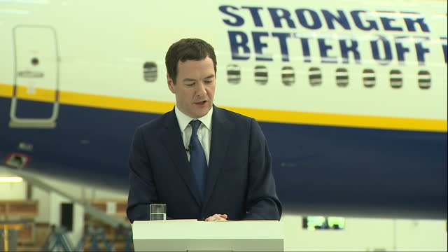 interior speech by george osborne mp inside a ryanair hanger at stansted airport on the eu referendum part five on may 16 2016 in london england - george osborne stock videos & royalty-free footage