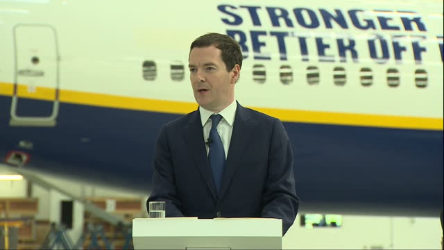 interior speech by george osborne mp inside a ryanair hanger at stansted airport on the eu referendum part two on may 16 2016 in london england - george osborne stock videos & royalty-free footage