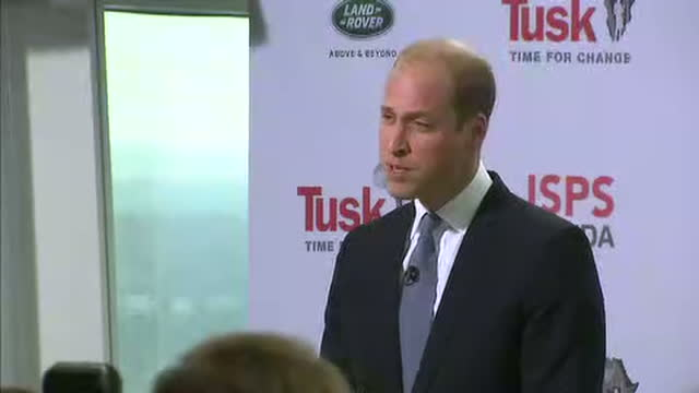 Interior speech by Prince William Duke of Cambridge about the conservation of endangered species at The View from The Shard on September 22 2016 in...