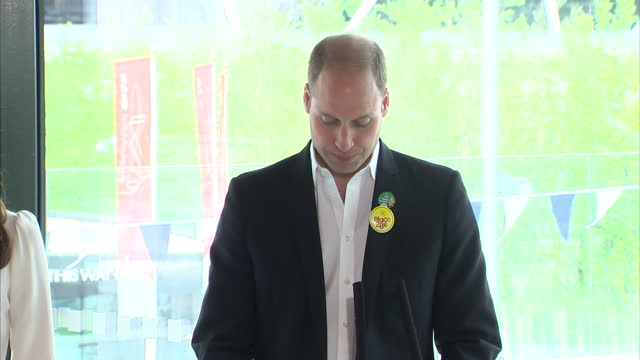 Interior speech by Prince William Duke of Cambridge Catherine Duchess of Cambridge and Prince Harry on the 'Heads Together' campaign to raise...