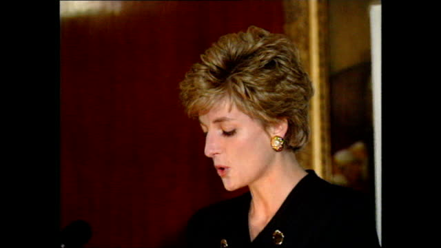 interior speech by princess diana at a meeting of charities that diana is patron after announcement of her separation with prince charles on december... - separation stock videos and b-roll footage
