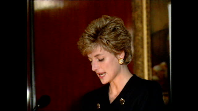 Interior Speech by Princess Diana at a meeting of charities that Diana is Patron after announcement of her separation with Prince Charles on December...