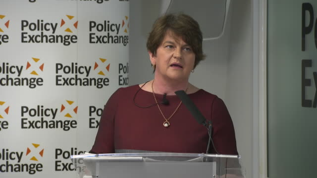 interior speech by the leader of the democratic unionist party arlene foster at a policy exchange event on june 26, 2019 london, england. - dup stock-videos und b-roll-filmmaterial