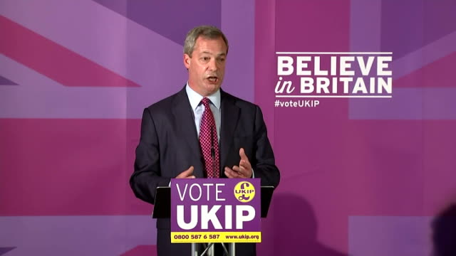 interior speech by ukip leader nigel farage as he launches his manifesto for the general election on april 15 2015 in thurrock england - thurrock stock videos and b-roll footage