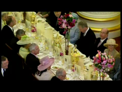interior speech prime minister tony blair at queen elizabeth ii's 80th birthday dinner at mansion house - royalty stock videos & royalty-free footage