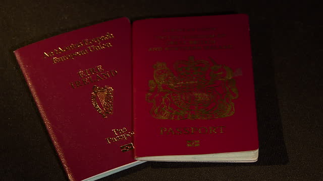 Interior studio set ups Irish Republic of Ireland and British United Kingdom of Great Britain and Northern Ireland Passports on January 16 2017 in...