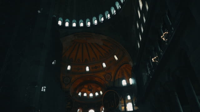 interior video of hagia sophia shot handheld in low light with cinematic color look - christianity stock videos & royalty-free footage