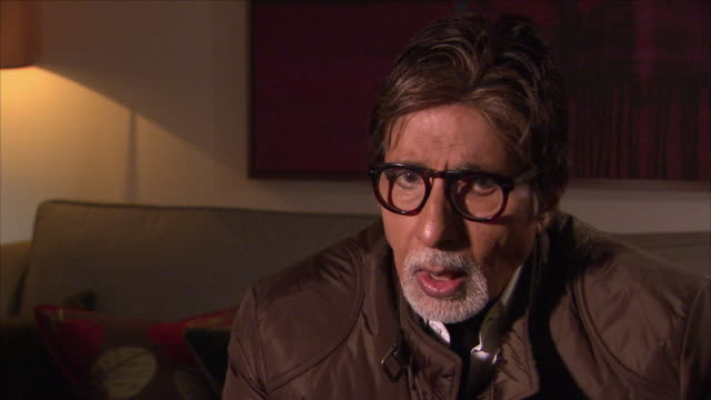 interior view of an interview with indian bollywood actor amitabh bachchan talking about his long film career on 27 january 2015 in london united... - interview stock videos & royalty-free footage