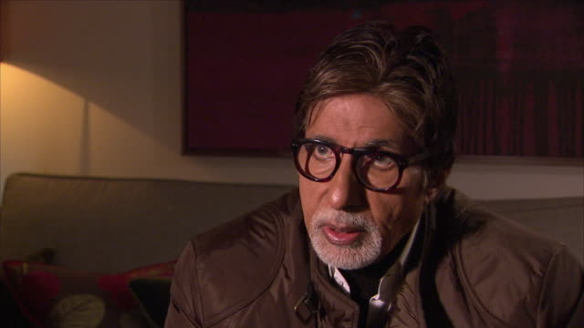 Interior view of an interview with Indian Bollywood actor Amitabh Bachchan talking about his long film career on 27 January 2015 in London United...