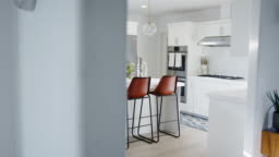 Interior View Of Beautiful Kitchen With Island Counter In New Family House