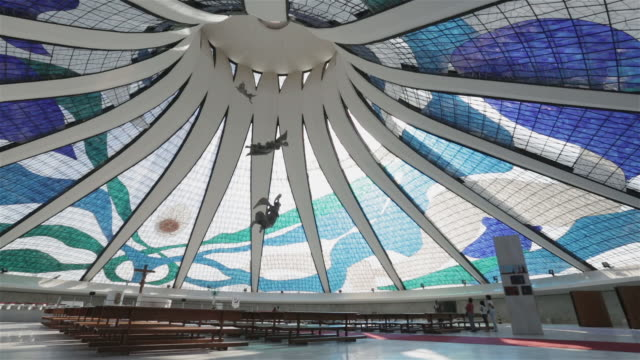 ws interior view of brasilia cathedral / catedral metropolitana / brasilia, brazil - oscar niemeyer stock videos and b-roll footage