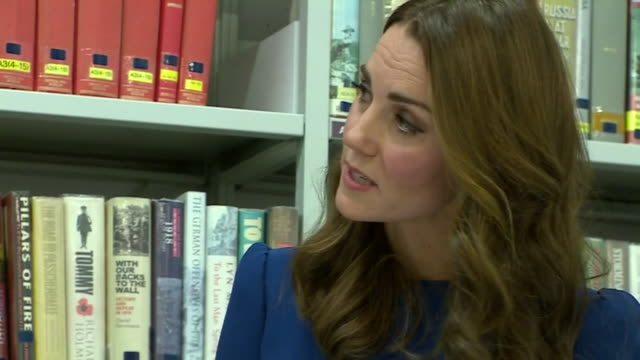interior view of duchess of cambridge being shown letters and photographs relating to three brothers of her great-grandmother, all of whom fought and... - war stock-videos und b-roll-filmmaterial