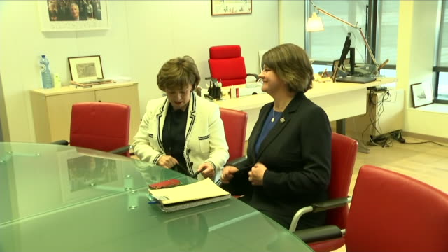 interior view of dup leader arlene foster mep diane dodds and eu chief negotiator michel barnier sitting down and having a short press photo call... - photo call stock videos & royalty-free footage
