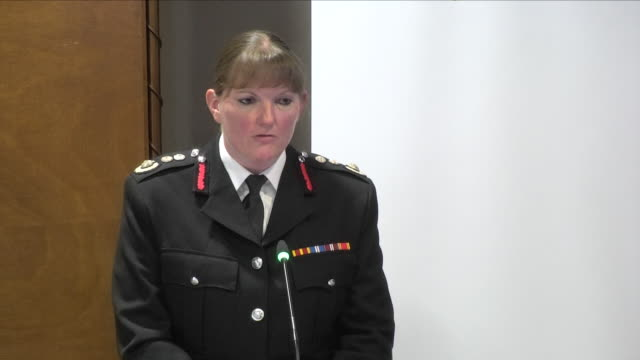 interior view of london fire brigade chief dany cotton giving evidence to the grenfell tower inquiry including building design and staying put within... - brigade stock videos & royalty-free footage