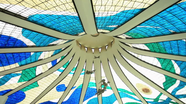 interior view of metropolitan cathedral of brasilia - brasilia stock videos and b-roll footage