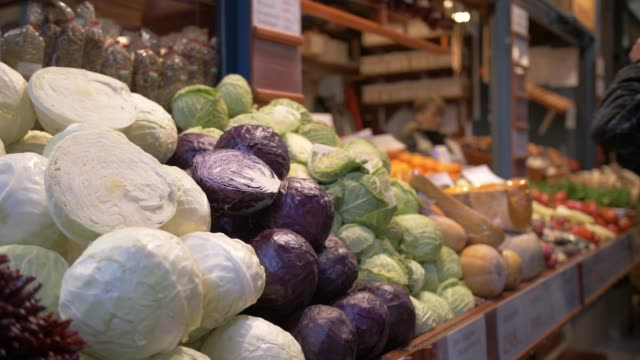 interior view of produce stalls in central market hall, budapest, hungary, europe - cabbage stock videos and b-roll footage
