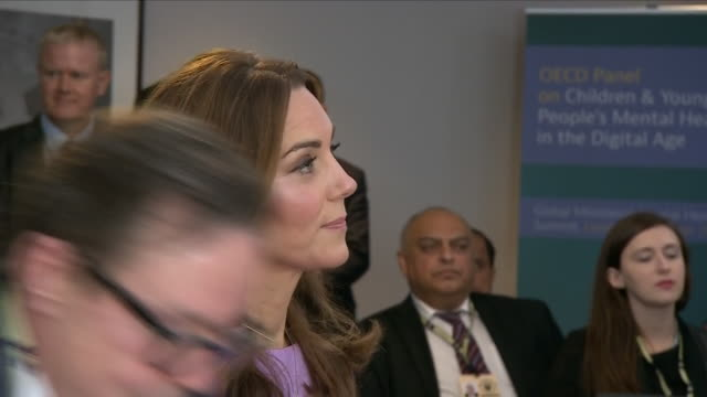 interior view of the duke and duchess of cambridge arriving in the conference room at the global ministerial mental health summit and being shown... - mental health stock videos & royalty-free footage