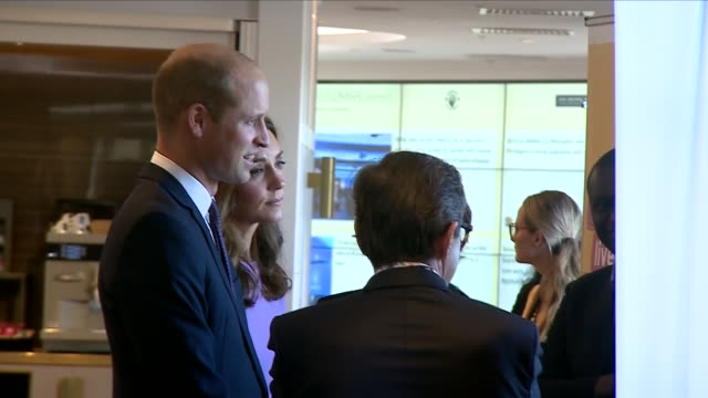 Interior view of the Duke and Duchess of Cambridge talking and listening at a stall at the Global Ministerial Mental Health Summit on October 09 2018...