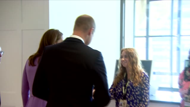 Interior view of the Duke and Duchess of Cambridge talking to a group of people at a stall at the Global Ministerial Mental Health Summit on October...