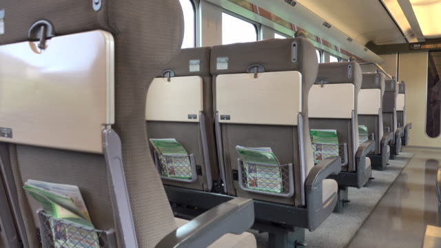 interior view of train with empty seat - seat stock videos & royalty-free footage