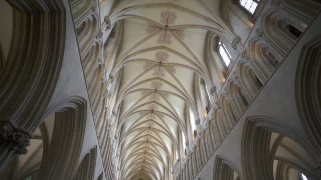 interior view of wells cathedral, wells, somerset, uk - wells cathedral stock videos & royalty-free footage
