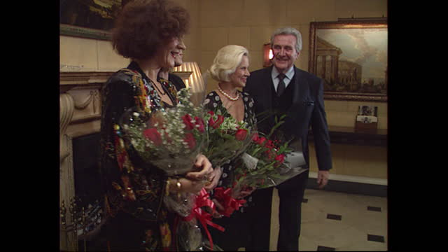 interior views of a photocall to promote the launch of the complete avengers vhs box set, showing honor blackman, diana rigg, linda thorson and... - diana rigg stock videos & royalty-free footage