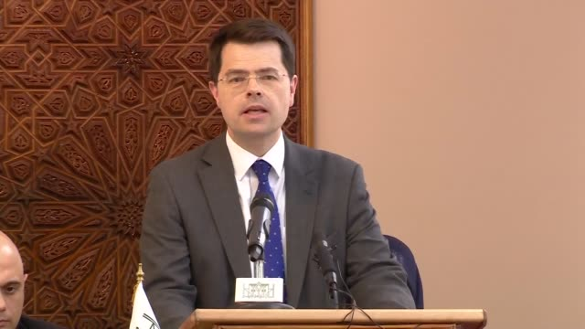 interior views of communities secretary james brokenshire making a speech at the interfaith meeting to remember the victims of the christchurch... - ジャスティン・ウェルビー点の映像素材/bロール