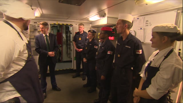 Interior views of Defence Secretary Gavin Williamson on board HMS Montrose and meeting cooks and kitchen staff and operational crew waiting for...