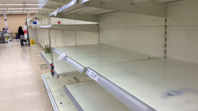 interior views of empty supermarket shelves on 14 march 2020 in london, united kingdom - shelf stock videos & royalty-free footage