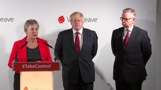 interior views of gisela stuart, chair of vote leave, speaking at a press conference about the result of the eu referendum on 24 june 2016 in london,... - boris johnson stock-videos und b-roll-filmmaterial