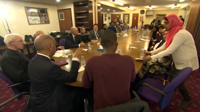 interior views of interfaith round table meeting to remember the victims of the christchurch shootings including guests james brokenshire sadid javid... - ジャスティン・ウェルビー点の映像素材/bロール