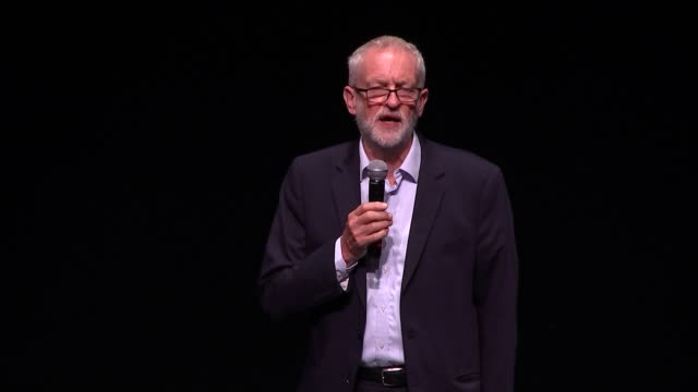interior views of jeremy corbyn speaking about boris johnson and a no deal brexit at a labour rally on 2 september 2019 in salford, united kingdom - jeremy corbyn stock videos & royalty-free footage