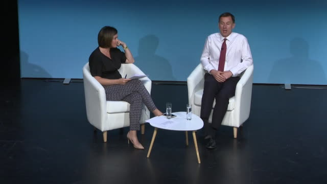 interior views of jeremy hunt being interviewed at conservative party leadership hustings event and being asked about seeing intelligence reports as... - darlington nordostengland stock-videos und b-roll-filmmaterial